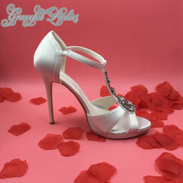 Elegant Rhinestone T-strap Wedding Shoes Women Sandal Thick Platform Crystal Black White Satin Bridal Shoes Ladies Sandals 2015