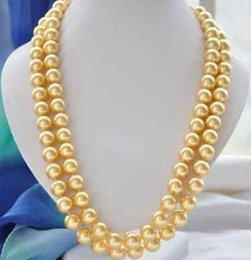 ELEGANT 38INCH 9-10MM SOUTH SEA ROUND GOLD PEARL NECKLACE 14K GOLD CLASP