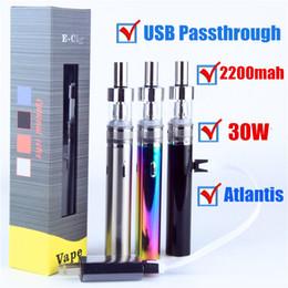 Descuento atlantis vapor TVR 30W Caja Vape Pen Starter Kit Electrónico Cigarrillo USB paso 2200mah vape mod con RDA Aspire Atlantis Vaporizador Vape kit de pluma DHL