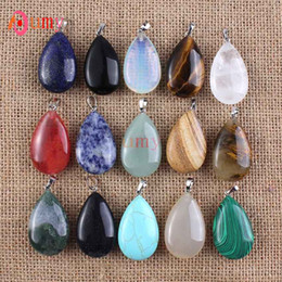 Wholesale 10 Pcs Exquisite Shiny Silver Plated Mixed Order Quartz Stone Water Drop Pendant Fashion Jewelry