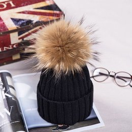 Fashion Women Beanies With Fox Fur Pompoms Knitted Various Colors Winter Cap Decorated with Raccoon Fur Ball Bobble Hat