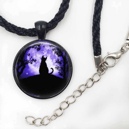 Cat Necklace Glass Tile Necklace Moon Jewelry Moon Necklace Black cat Pendant Jewelry Girls Glass Cabochon