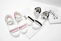 Wholesale 2016 New Arrivals summer Fish head sandals fashion simple Velcro top leather black powder women sandals size Eur