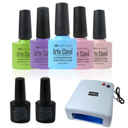 Wholesale 10ml Arte Clavo Any Colours Soak Off LED Color Gel Polish Base Top Coat W UV Lamp