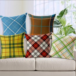 Wholesale Organic Fabric Korean Garden Sofa Bench Casual Pillow Cases Linen Plaid Soft mounted Car Back Support Home Window Bed Cushion Covers Decor