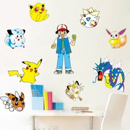 Hot Poke Go Wall Stickers for Kids Rooms Home Decorations Pikachu Wall Decal Amination Poster Wall Art Wallpaper