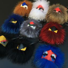 Wholesale 15 colors cm Big Fend Bag Bugs Monster Real Fox Fur PomPom Doll Keychain Pendants For Bag Handbag Purse Charms Great Gift