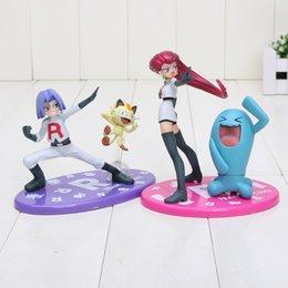 Wholesale Japanese Anime Poke Figures GEM Team Rocket James Meowth Jesse Wobbuffet cm PVC Action Figure Model Toys