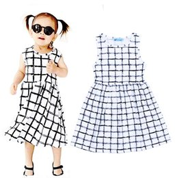 Wholesale Childrens Dresses for Girls Dress Girl Kids Clothing Black White Plaid Printed Princess Dress Summer Dresses Enfant Clothes
