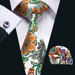 Mens Silk Ties Novelty Green Orange Red Floral Business Wedding Neck Tie Set Include Tie Cufflinks Hankerchief Necktie N-1216