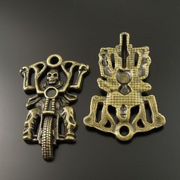 10PCS Lot Antique Bronze Motorcycle Rider Alloy Pendant Charm Jewelry Finding 44*29*5mm AU35246 jewelry making