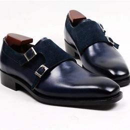 Men Dress shoes Men's shoes Monk shoes Custom handmade shoes Genuine calf leather double buckles Color navy HD-230