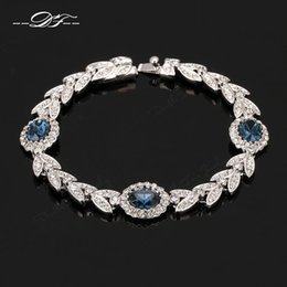 Olive Branch Blue Crystal Imitation Gemstone Bracelets & Bangles Wholesale Platinum Plated Jewelry For Women Gift Crystal DFH047
