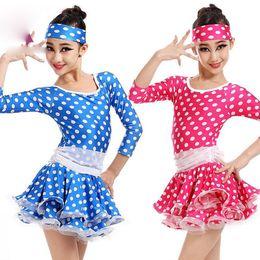 Wholesale Show Girls Dresses - Girls Leotard latin Dance Dress Child Tutu Dress Costumes kIDS Blue dot Party Show 3-10 Ages long seelve Pink Dancewear Clothes