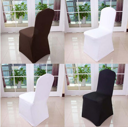 Wholesale Color Chair Cover - Wolesale hotel hotel chair cover wedding wedding pure color with thick white elastic high-end banquet chair cover free shipping WA0101