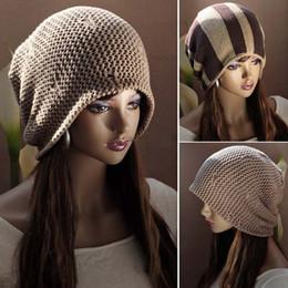 Wholesale Top Quality Fashion Both Sides Double Used Women Men Knit Ski Crochet Slouch Cap Stripe Beanie Hip Hop Casual Hat Unisex