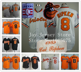 Wholesale Cal Ripken Jersey Baltimore Orioles Cooperstown Throwback Cream White Orange Grey