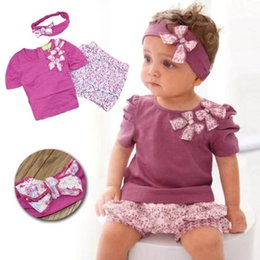 Wholesale Baby girls flower bowknot suit sets children Short sleeve T shirt shorts Hair band set suits kids clothes Sweetgirl B001