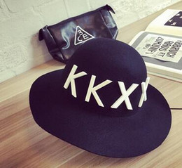 NEW Acrylic Alphabet Wide-Brimmed Floppy Bowler Hat Men And Women Fedora Cloche Hat Wool Large Brimmed Hat