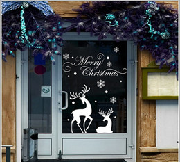 Wholesale Christmas wall stickers Christmas store window decoration stickers Christmas decorations to dress up wallpaper White Snowflake reindeer