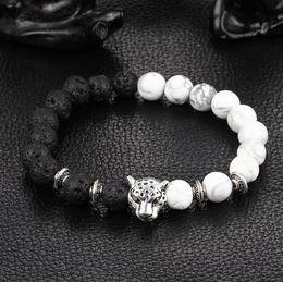 Hot fashion explosion models natural black volcanic rock loose circle of prayer beads bracelets lion leopard head bracelet Jewelry Lovers