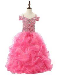 Wholesale Cheap Pageant Dresses Girls Vestidos Per Bambini Elegant Communion Dresses Ball Gowns Flower Girls Dresses