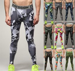 Wholesale 2016 new Mens Running Camouflag Base Layer Fitness Jogging Compression Tights Long Pants Sport Basketball Training Leggings Mens Gym A111312