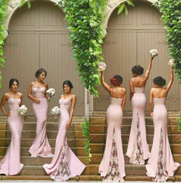 Vintage Blush Lace Stain Spaghetti Mermaid Long Beach Bridesmaid Dresses 2019 New Trend Backless Maid Of Honor Wedding Guest Dress