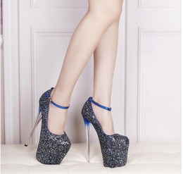 Spring New super fine with 19 cm sequins heels for women's shoes