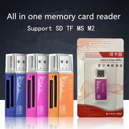 Promotion adaptateurs memory stick Tout en 1 USB 2.0 Multi Memory Card Reader Connecteur pour Micro SD MMC SDHC TF M2 Mémoire Duo RS-MMC