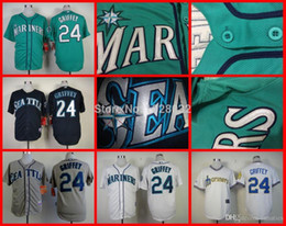 Wholesale 2015 New HOT SALE Seattle Mariners Authentic Jersey Ken Griffey Jersey White Blue Gray Green Baseball Jersey Embroidery Logo