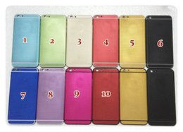 Logos sim à vendre-Logement luxueux pour iPhone 6 6S 4,7 'Porte de batterie Porte de logement en aluminium avec des boutons latéraux Bac SIM avec logo 10 couleurs, sans DHL