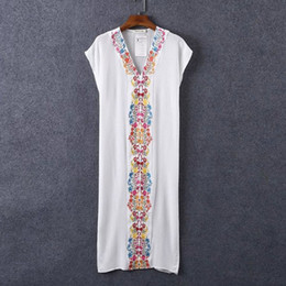 T142 Thailand Bohemia folk style embroidery dress beach seaside resort comfort cotton dress