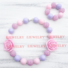 20mm pink purple acrylic beads pink flower&rhinestone beads chunky Bubblegum kids necklace&bracelet set CB810