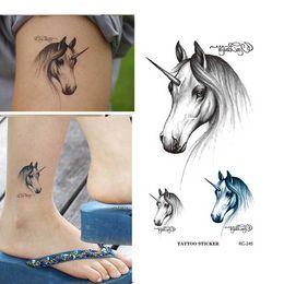 Transfert d'eau autocollants de tatouage à vendre-Étanche tatouage temporaire autocollant Zodiac Horse Design flash Faux Body Tattoo Art eau transfert autocollant de tatouage