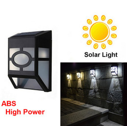 Wholesale 2016 waterproof solar wall lamps ABS Solar LED Path led solar Light Outdoor Garden wall lightings Yard Path Fence Lamp free drop shipping