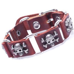 Wholesale Genuine Leather Bracelet With Skull Alloy for Women Men Jewelry New Trendy Leather Bracelets Fashion Jewelry Free Shipping