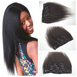 G-EASY Clip In Hair Extension 12-26inch 7pcs set 120g kinky Straight Hair Clip On human Hair Extensions