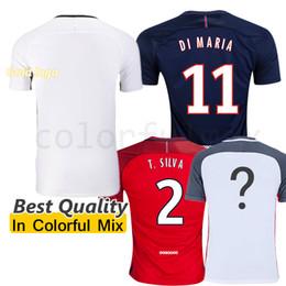 Wholesale PSG Gold Team Logo White Jersey Beckham Ibrahimovic Di Maria Soccer Jerseys Lucas Cavani David luiz Football Shirts uniforms