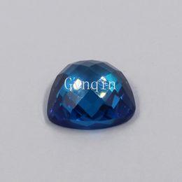 100pcs lot free shipping 5x5mm-12x12mm AAA cubic zirconia swiss blue trillion flat back checker cut loose gem stones