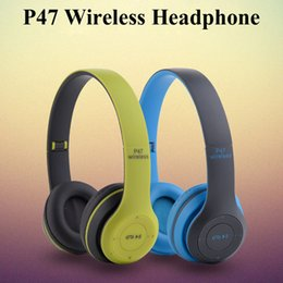 Wholesale P47 Wireless Headphone Bluetooth Headphone FM Stereo Radio MP3 Player TF Card EDR For Iphone Samsung Cellphone With Retail box EAR196