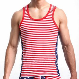 High quality Men Hiphop Fashion Tank Tops American Flag Printed Vest Mens Undershirt Men Bodybuilding Gym Sleeveless Tank Top