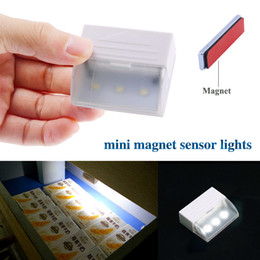 Wholesale Mini Magnet Motion Sensor Drawer Light V Leds Lamp Beads Home Cabinets Kitchen Cabinet Drawer Induction Night Light LE09