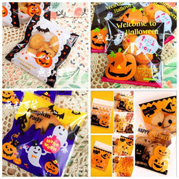 100 Pcs 5 Style DIY Halloween Yellow Pumpkin and Bat Candy Cookies Gifts Bags Plastic Bag Party Pack BagsSS-001