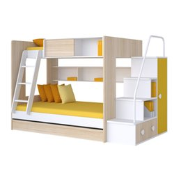 Wholesale bunk bed kids furniture Mdf no paint colorful furniture safty dood quality OEM ODM factory sale ONLY ACCEPT CONTAINER