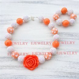 20mm orange acrylic dot beads white rhinestone beads flower chunky Bubblegum kids necklace&bracelet set CB812