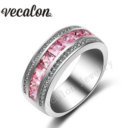 Vecalon New Pink sapphire Simulated diamond Cz Wedding Band Ring for Women 10KT White Gold Filled Female Engagement Band Sz 5-11