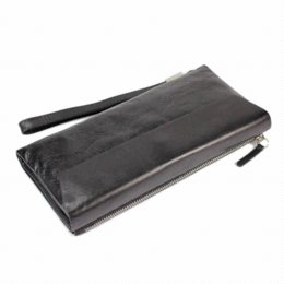 Mens' High Quality Black Genuine Leather Clutch Purse Male Business Bifold Wallet Men Casual Clutch Bag