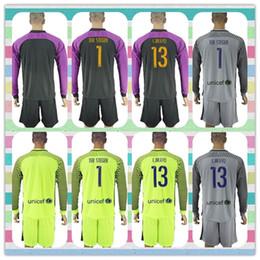 Wholesale Uniforms Kit Barcelona soccer Jersey TEER STEGEN C BRAVO Goalkeeper Long Sleeve Grey Purple Black Green Jerseys