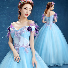 light blue flower feather slash collar gown Medieval dress Renaissance gown Sissi princess dress Victorian  Marie Belle Ball